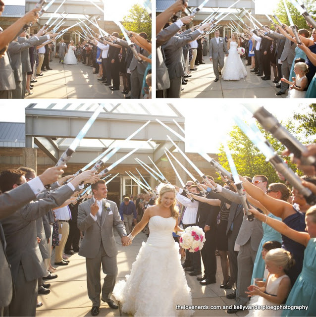 Comic Book Wedding - light sabers
