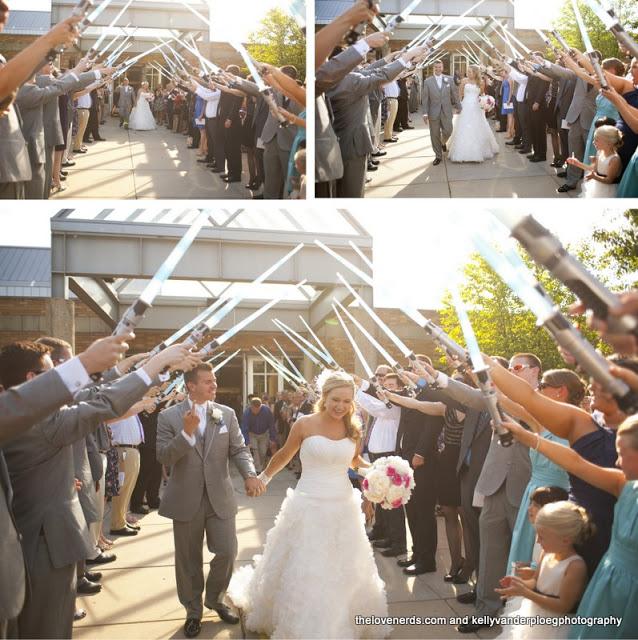 Comic Book Wedding - light sabers