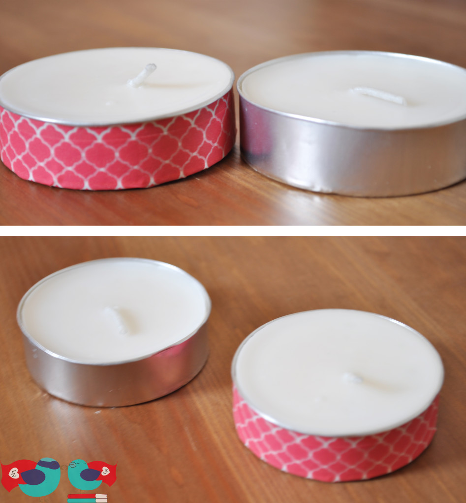 Washi Tape Tea Lights Before and After