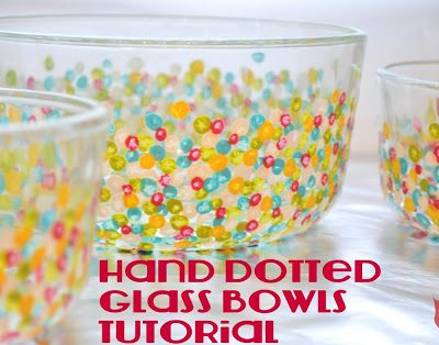 How to Hand Paint Glass Bowls with Confetti Dots