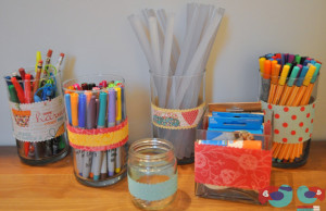 Upcycle Project using Fabric to decorate old glass jars and vases
