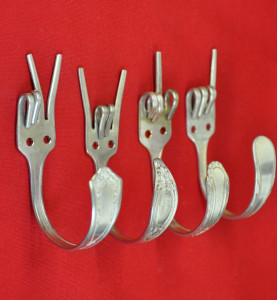 Forks Upcycled into hooks