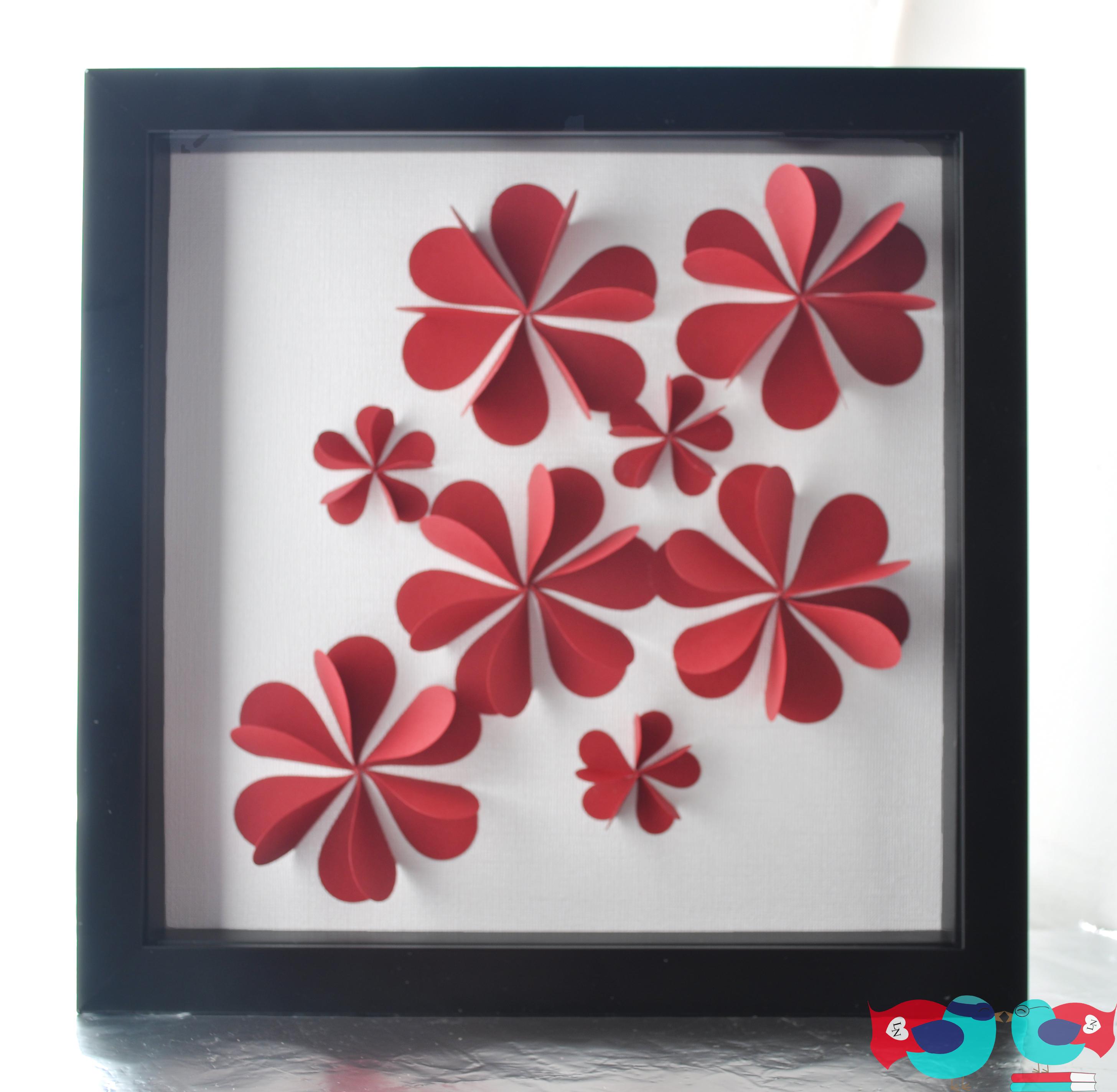 3D Flower Art Using Paper HeartsThe Love Nerds