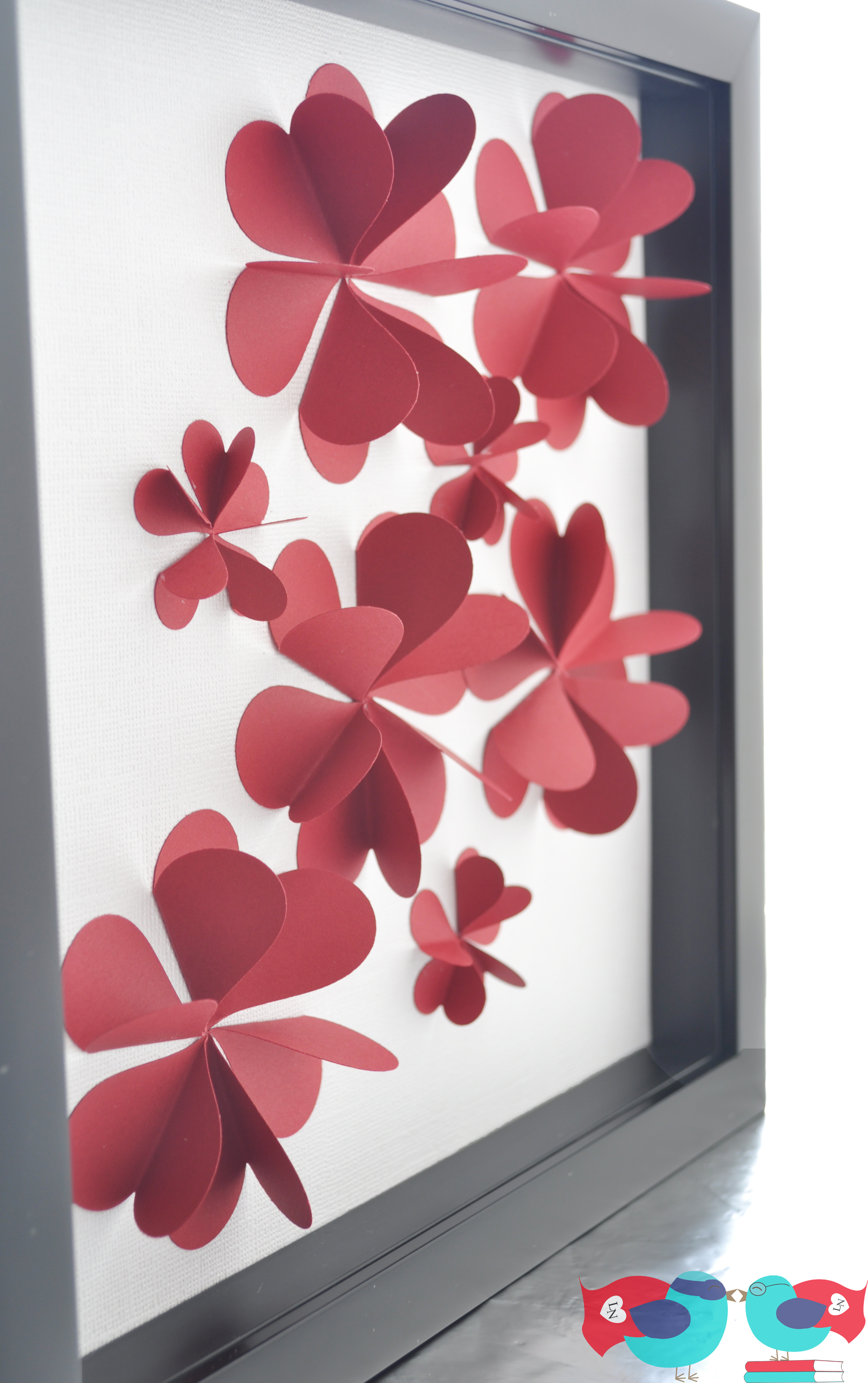 3d flower art using paper hearts the love nerds - How to make paper love hearts ...