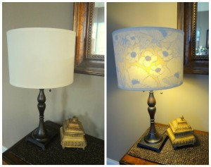 Use fabric to upcycle an old lamp shade