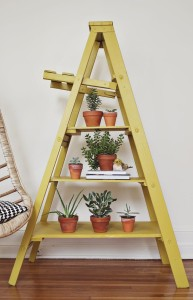 Upcycling an old ladder to include as shelving unit in home decor