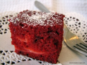 red velvet sqaures with cream cheese filling