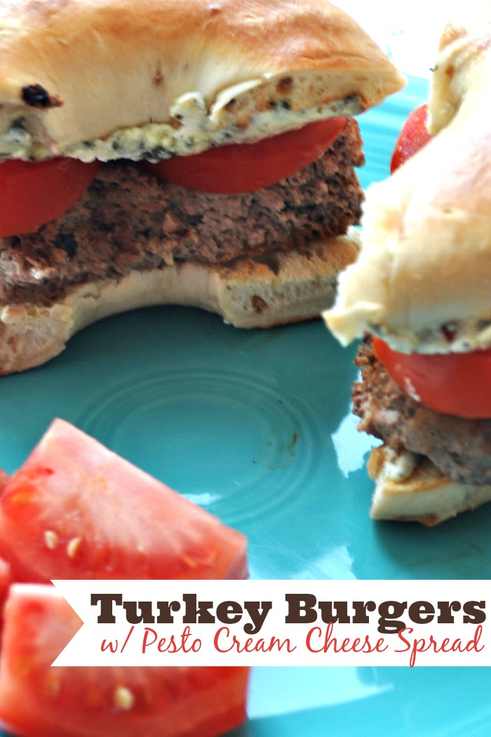 Turkey Burger with Pesto Cream Cheese Spread, especially perfect on an everything bagel! So much great flavor! {The Love Nerds}