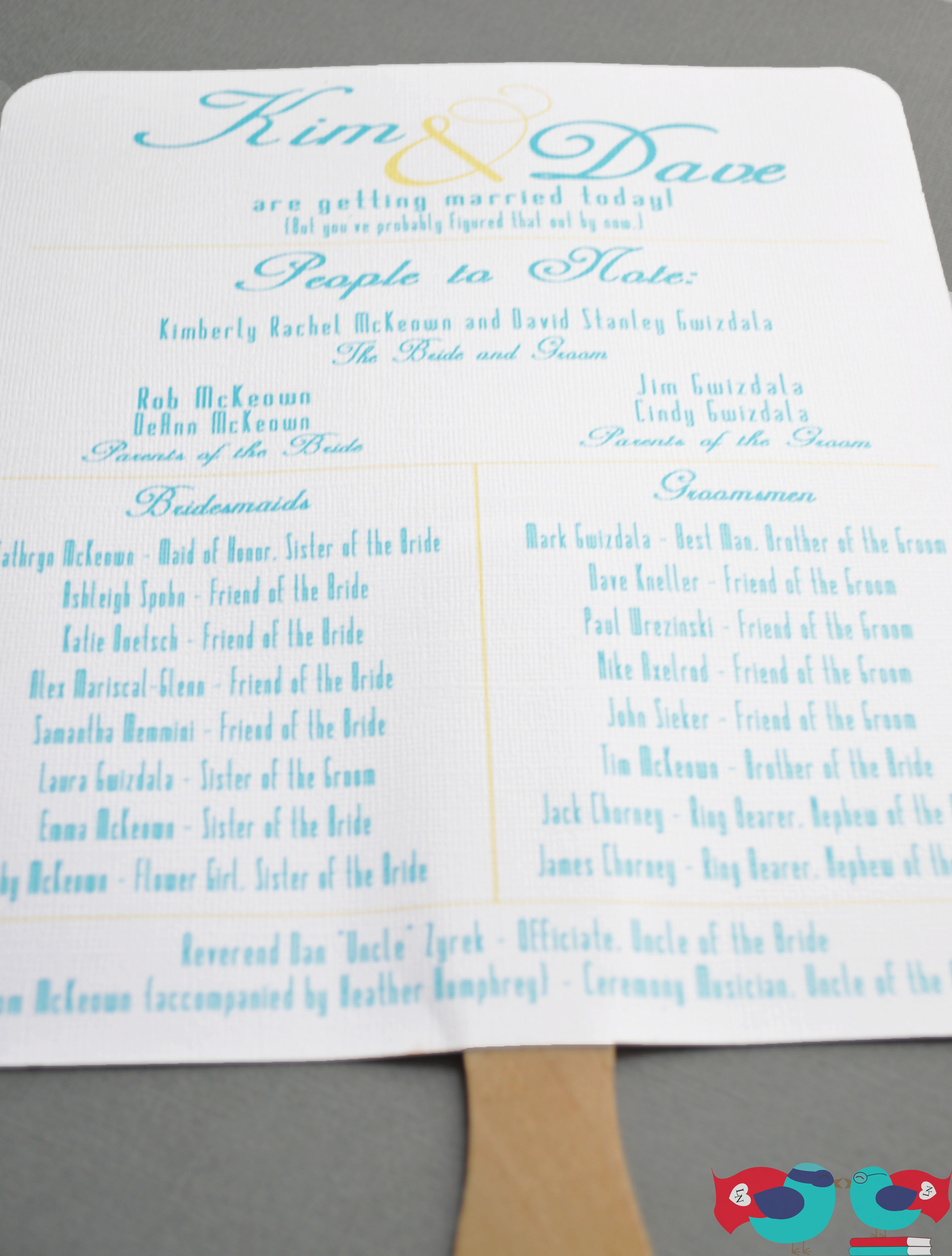 Fun And Casual Summer Wedding Program Fans Perfect For Outdoor Ceremonies To Keep The Guests Cool