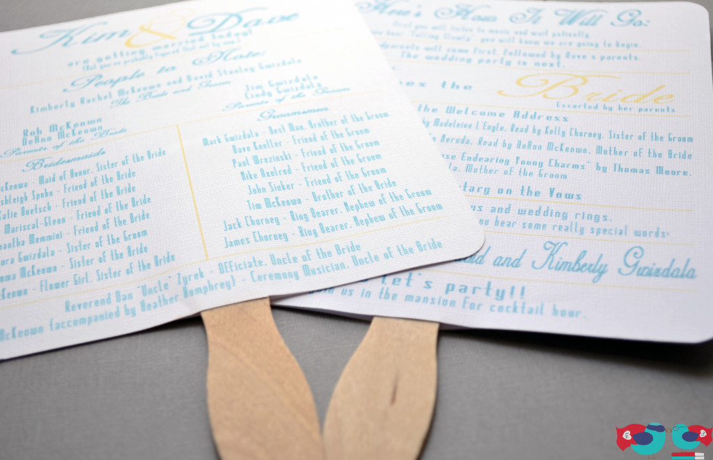 Fun and Casual Summer Wedding Program Fans perfect for outdoor ceremonies to keep the guests cool and comfortable @ thelovenerds