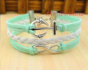 white and aqua love bracelet with infinty sign and anchor from I Style I Show on Etsy; featured @ thelovenerds