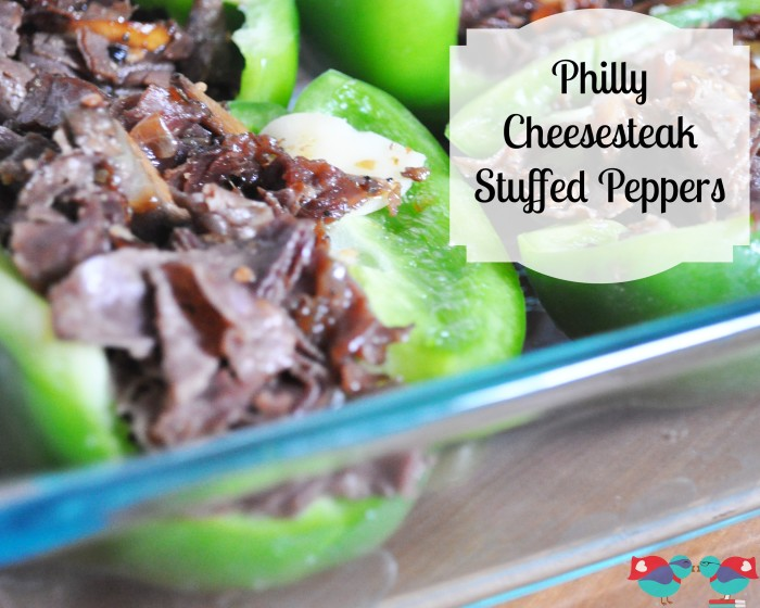 Delicious Philly Cheesesteak Stuffed Peppers - A fabulous and quick dinner recipe! {The Love Nerds} #recipe #dinner #stuffedpeppers