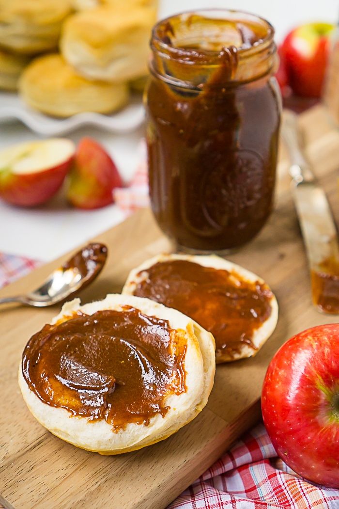 Slow Cooker Apple Butter Recipe perfect for biscuits, pork recipe, or pancakes!