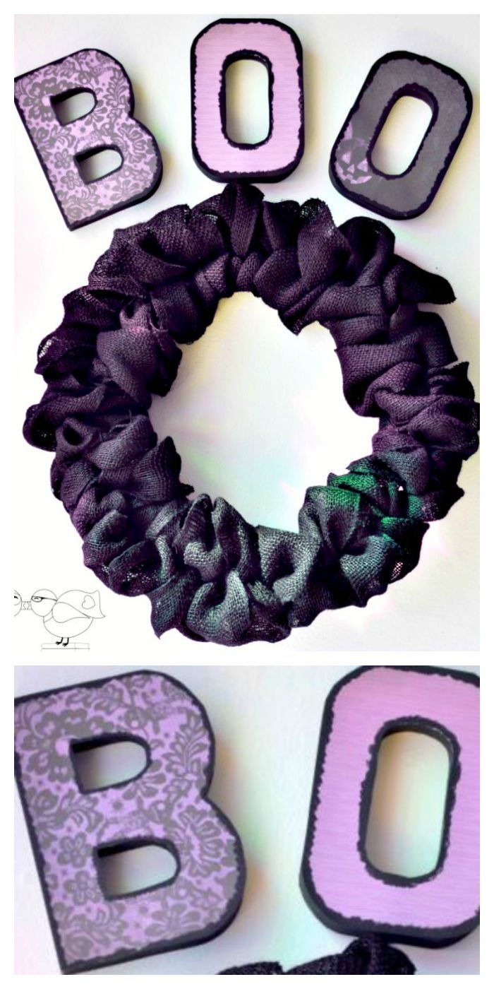 Boo! Halloween Paper Mache Letter are easily customized with your choice of Halloween paper. It makes a gorgeous addition to a black burlap wreath, too! | The Love Nerds