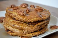 The Perfect Pumpkin Pecan Pancakes - Delicious all year long with the perfect combination of pumpkin and spices! {The Love Nerds} #brunchrecipe #pancakerecipe #pumpkinrecipe
