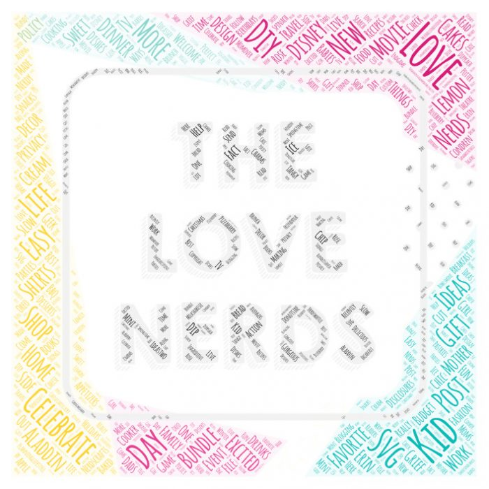 The Love Nerds Logo Word Art using thelovenerds.com as it's source for words