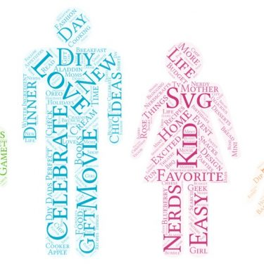 A family shaped word art with a green little boy, blue adult man, pink adult female and yellow little girl