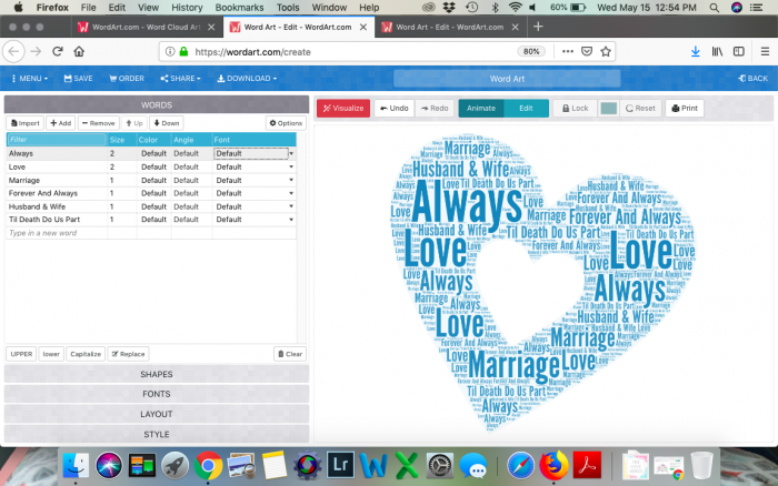 Wordart.com Dashboard with a Blue Heart Shaped Example using the words always, love, marriage, husband and wife, and more!