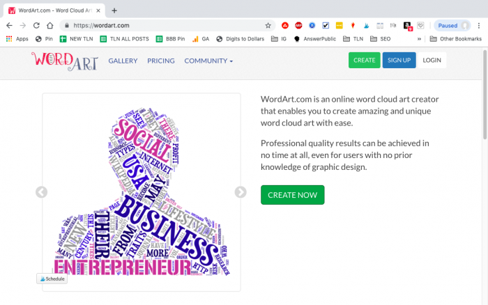 WordArt.com Homepage with an example design on the left and the create button on the right