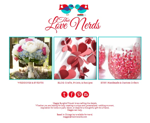 The Love Nerds Website - blogging, etsy shop, and wedding and events