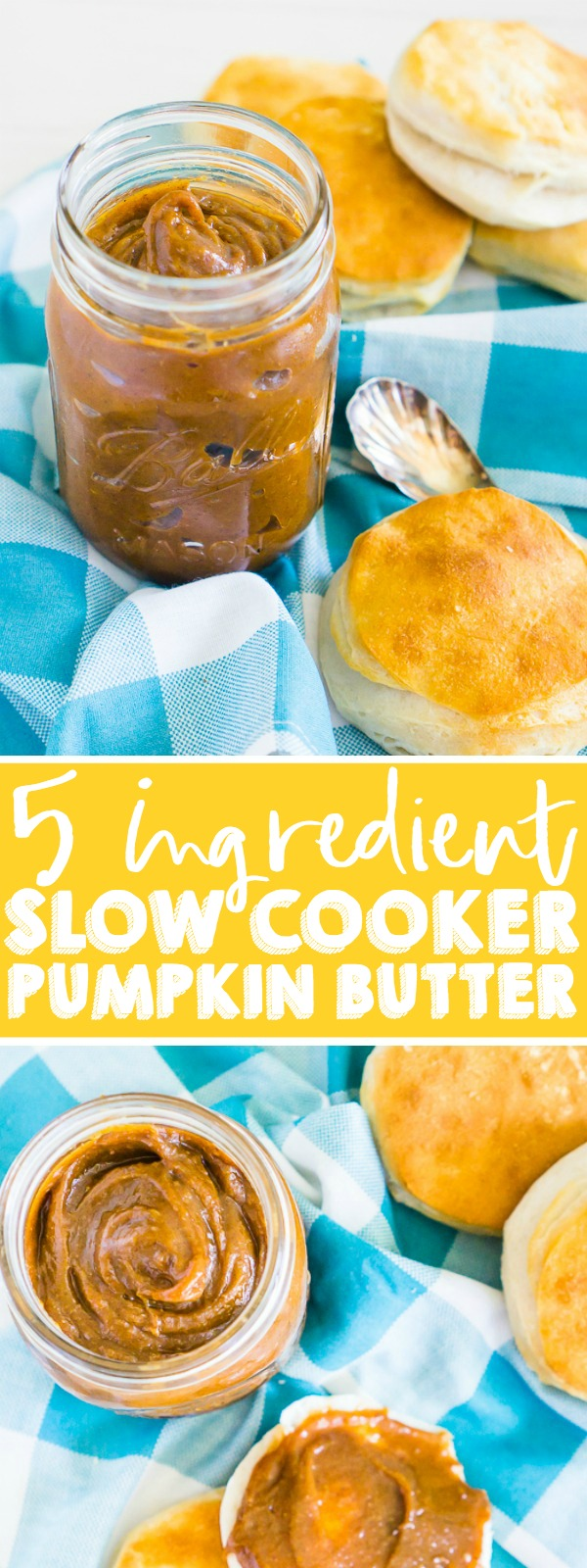 This 5 ingredient Slow Cooker Pumpkin Butter is absolutely addicting and a fall pumpkin recipe staple for us because it makes the perfect ingredient for fall baked goods, main dish recipes and even morning toast! | THE LOVE NERDS #pumpkinrecipe