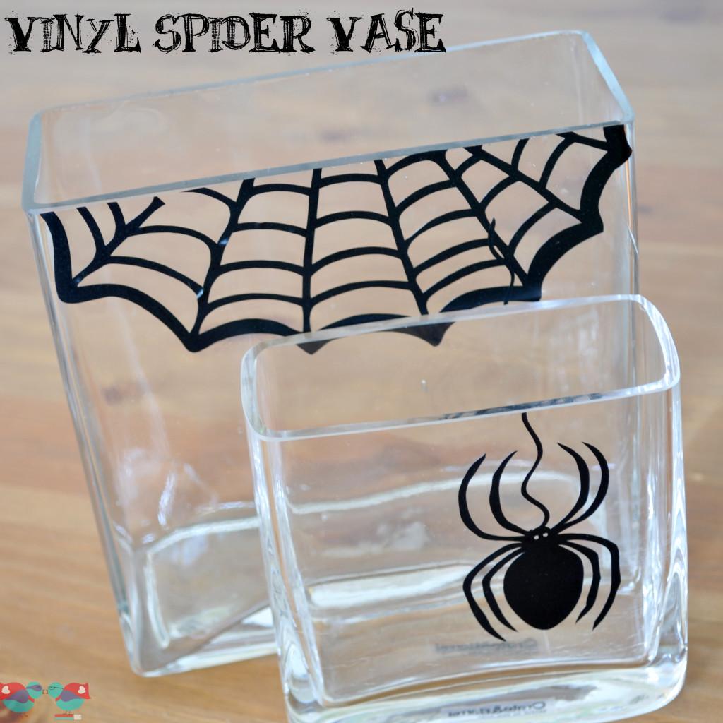 DIY Halloween Spider Vase with vinyl - From The Love Nerds {https://thelovenerds.com}