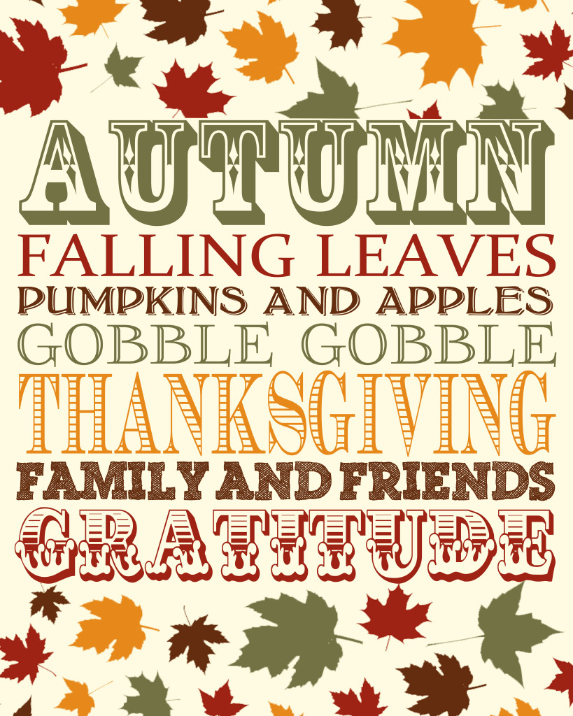 Free Thanksgiving Print celebrating Autumn