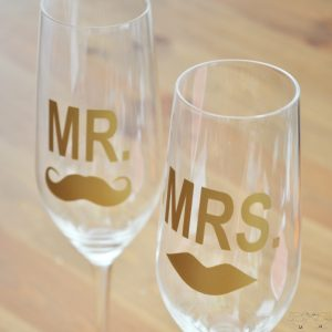 Mustache and Lips Wedding Flutes 2