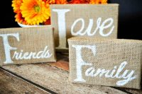 DIY Thankful for Art Work - These Burlap Canvases are the perfect way to showcase in Thanksgiving decor what you're most grateful for! | The Love Nerds