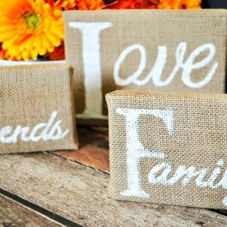 """Thankful for"" Burlap Canvases"