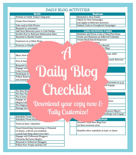 Daily Blog Checklist - Fully Customizable for your Individual Organization Needs {From The Love Nerds} #bloggers #DailyBlogChecklist #BlogOrganization