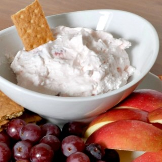 Strawberry Fruit Dip - Perfect as a healthier snack! Plus, with it's like pink color, it makes the perfect addition to a Valentine's Day Party - especially for kids! {The Love Nerds}