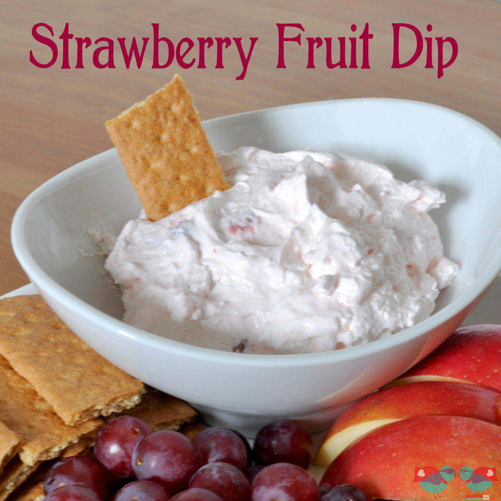 Strawberry Fruit Dip - Perfect as a healthier snack! Plus, with it's like pink color, it makes the perfect addition to a Valentine's Day Party - especially for kids! {The Love Nerds} #snack #Valentinesday #fruitdip