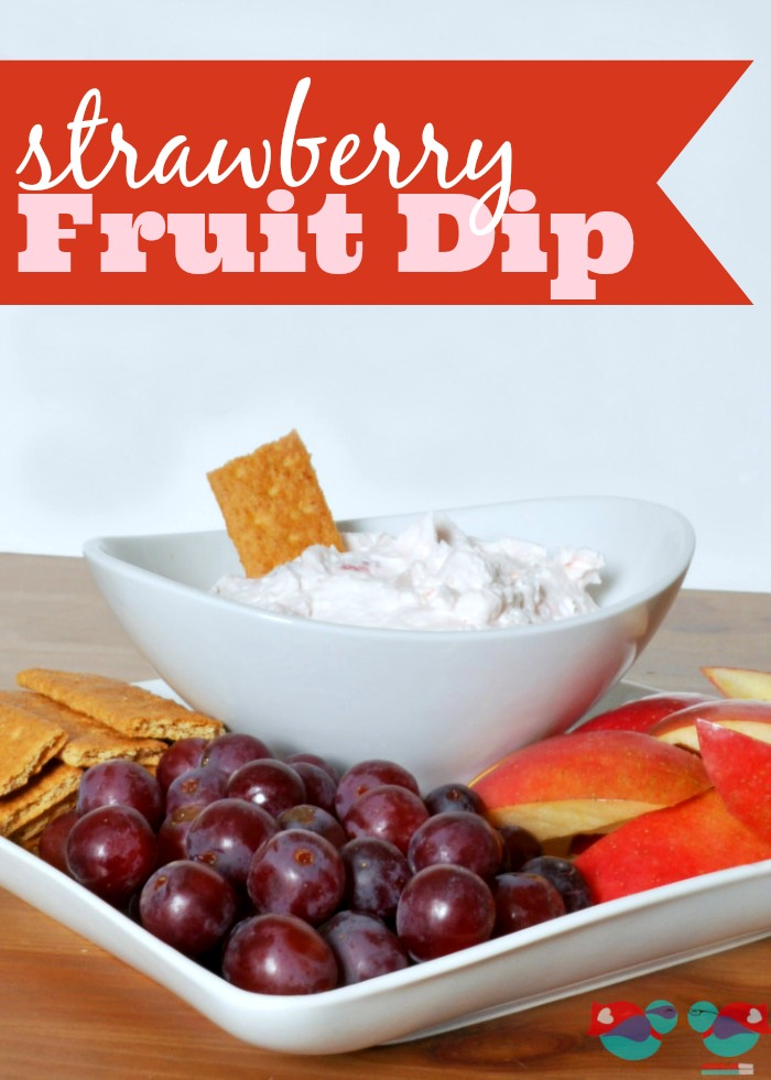 Strawberry Fruit Dip - A healthier snack that will make a fruit platter more special! Plus, with it's light pink color, it makes the perfect addition to a Valentine's Day Party!  {The Love Nerds}