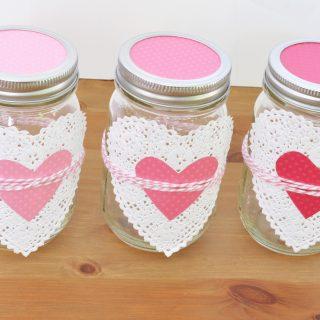 Lovely Ombre Heart Mason Jars