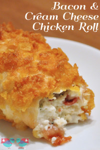 Enjoy a delicious dinner with this Chicken Roll stuffed with Bacon and Cream Cheese! A fabulous crispy outside makes it even better! {The Love Nerds} #dinner #chickenrecipe #chickenroll