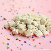 Cake Batter Muddy Buddies from The Girl Who Ate Everything - A fabulous birthday treat to have out on the day of a party! {The Love Nerds} #birthday #birthdaytreat #dessertrecipe