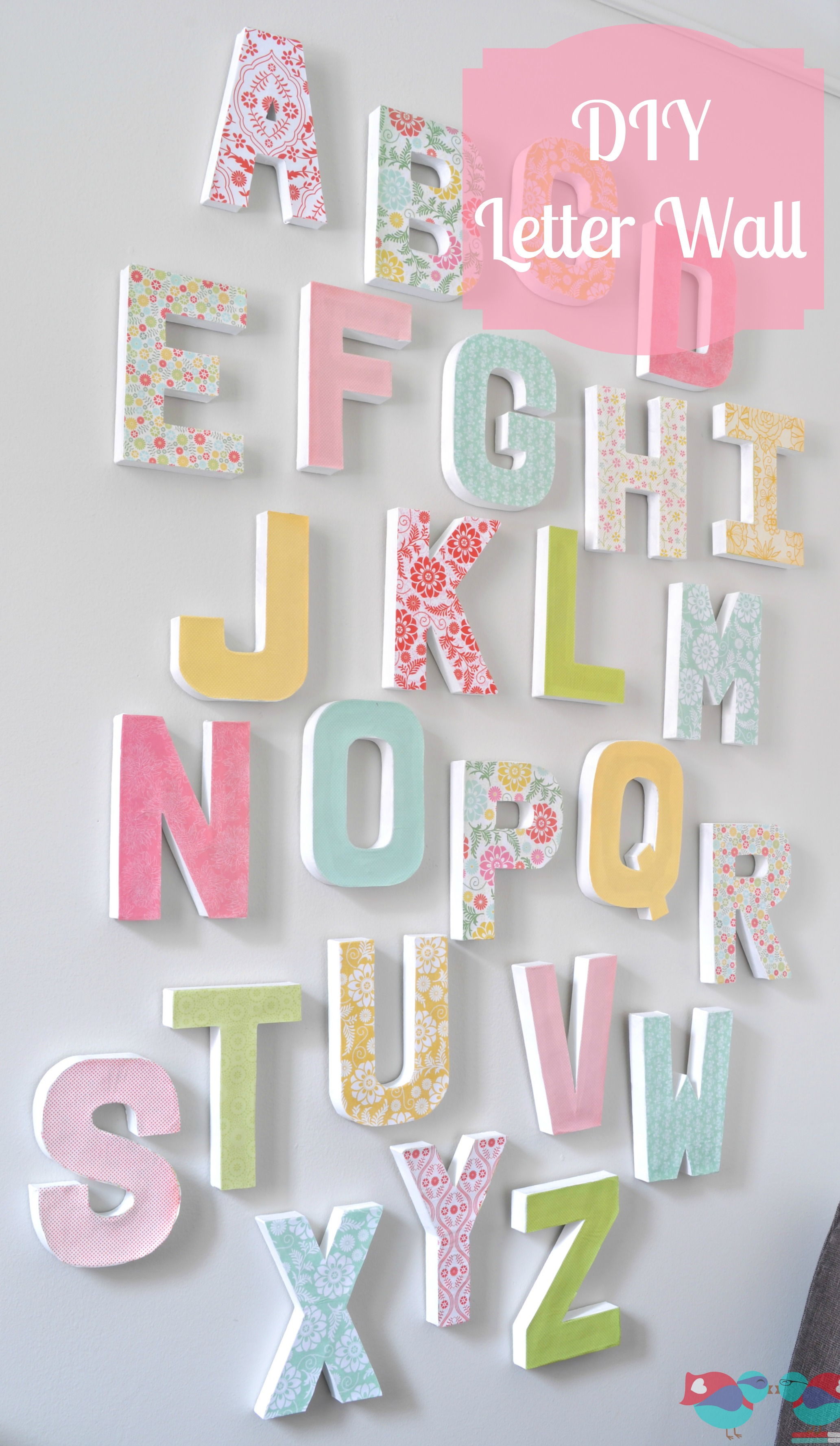 DIY Letter Wall - Make a big, colorful statement piece with an inexpensive  home decor