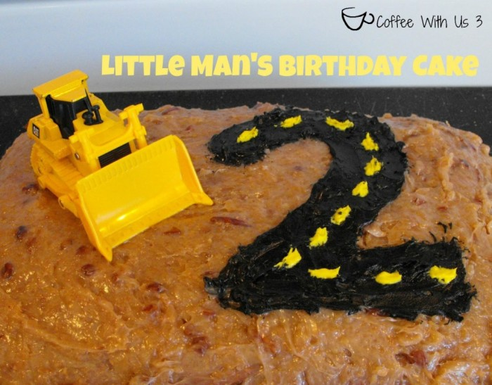Little Man Construction Birthday Cake by Coffee With Us 3 - An easy but adorable way to decorate for your little boy's Construction Party! {The Love Nerds} #boybirthday #birthdaycake #birthdayparty #constructionparty