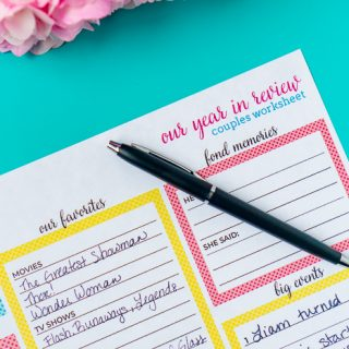 Take time to reflect on the past year as a couple and briefly journal about your favorite memories, trips, marriage goals and more! It's an easy way to write about your relationship and life and have something tangible to look back on year after year.