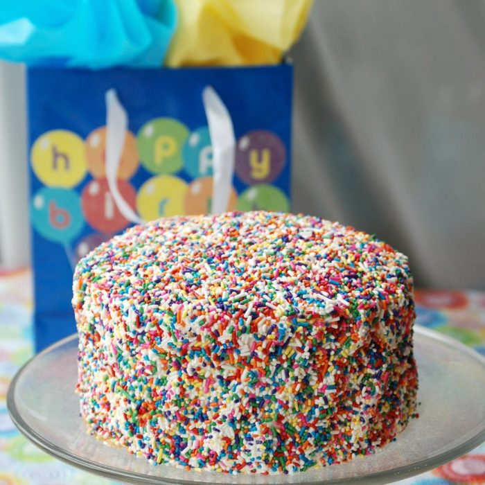 Sprinkle Birthday Cake from Endlessly Inspired - A colorful cake that's perfect for any age birthday! {The Love Nerds} #birthday #birthdaycake #party #sprinklecake