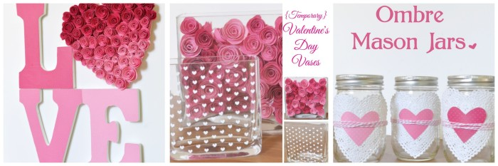 The Love Nerds' Valentine's Day Decor with Pink Ombre and Hearts! {The Love Nerds} #ValentinesDay #holidaydecor #crafts #diy