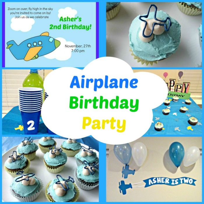 Airplane Birthday Party from Love to be in the Kitchen - The cutest ideas on how to throw an adorable Airplane themed party, including invitations, the coolest cupcake decor, and game ideas! {The Love Nerds} #birthdayparty #boyparty #airplane