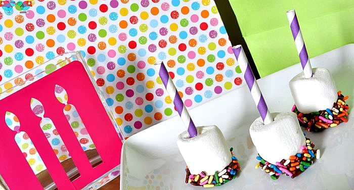 The perfect birthday treat! Chocolate Dipped Sprinkle Marshmallows with a Straw Birthday Candle! {The Love Nerds}