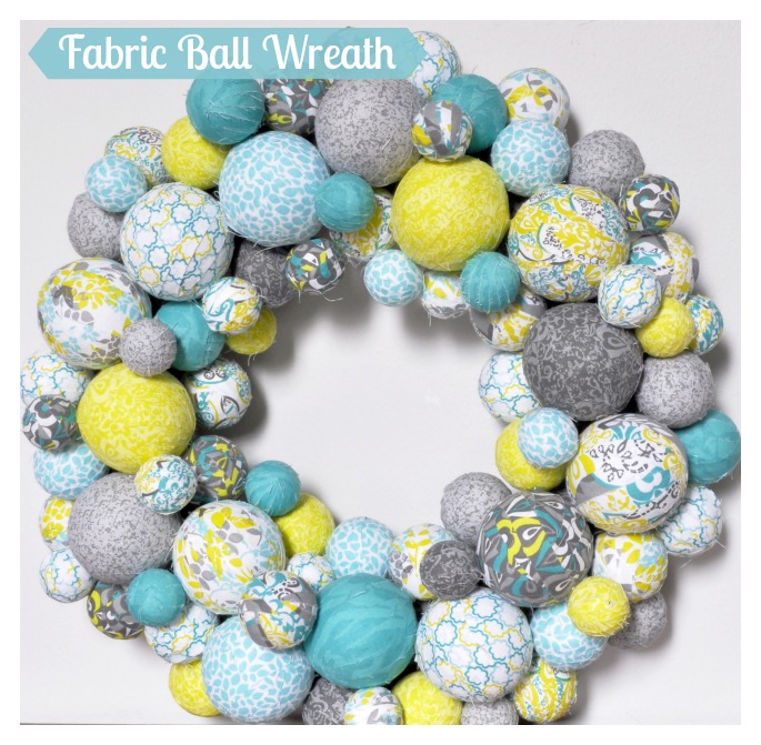 Fabric Ball Spring Wreath from The Love Nerds