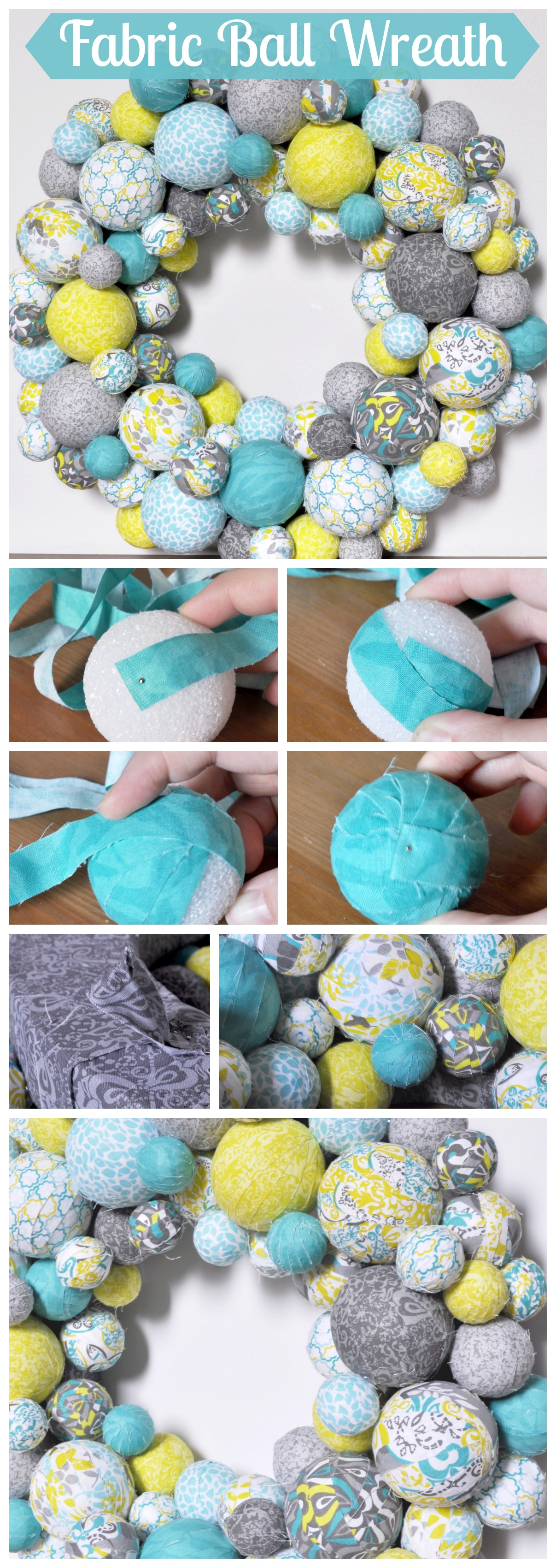 Fabric Ball Wreath - I am so excited about my spring wreath in aqua, lemongrass green, and gray patterns! It looks fabulous in our house and would look super cute in a nursery! {The Love Nerds} #crafts #springwreath