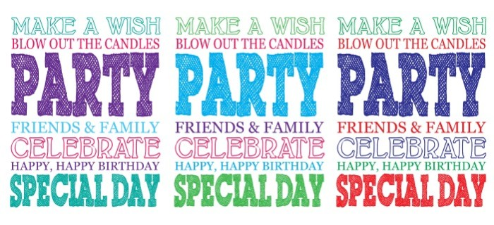 Free Birthday Printables - Download Birthday Subway Art in 3 different colors! Perfect to use for party decor, birthday signs, or birthday cards. {The Love Nerds} #free #printables #birthdayparty #subwayart