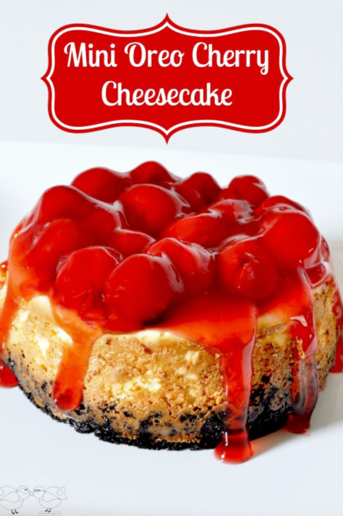 Mini Oreo Cherry Cheesecake - Make a smaller version of a fabulous dessert, perfect for date night at home or a small family! {The Love Nerds}