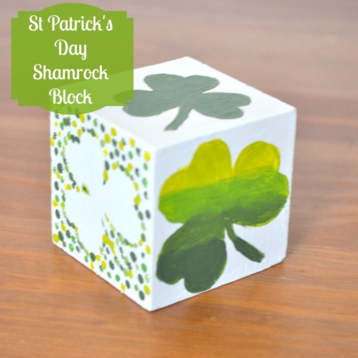 St Paddy's Day Craft - A Shamrock Block {The Love Nerds} #stpaddysday #stpatricksday #woodcrafts #paintcrafts