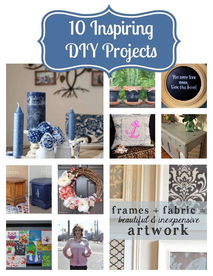 10 Inspiring DIY Projects from furniture remodels to inexpensive art and a spring wreath {The Love Nerds} #crafts #chalkboardprojects